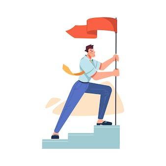 Alcanzar los mejores resultados y el éxito en el trabajo empresario aislado levantando la bandera de pie o escaleras