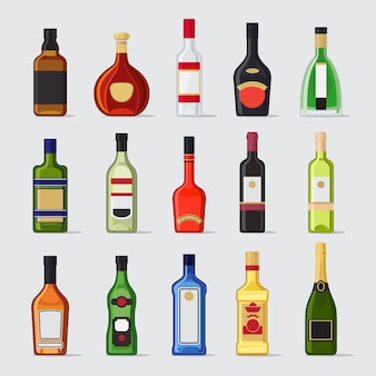 Alcohol en una botella iconos planos