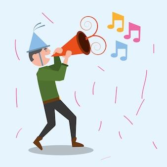 Alegre celebración del hombre fiesta de música