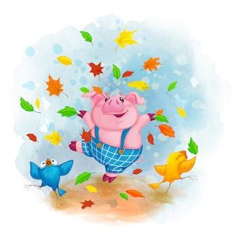 Alegre cerdo y pájaros bailando y arrojando hojas de otoño.