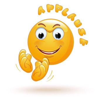 Alegre emoji aplaude felizmente