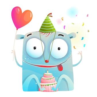 Alegre fiesta de monstruos con pastel de cumpleaños