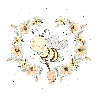 Alegre linda abeja con miel en un marco de flores.