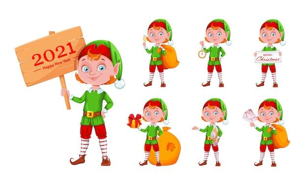 Alegre personaje de dibujos animados de elfo de navidad, conjunto de siete poses