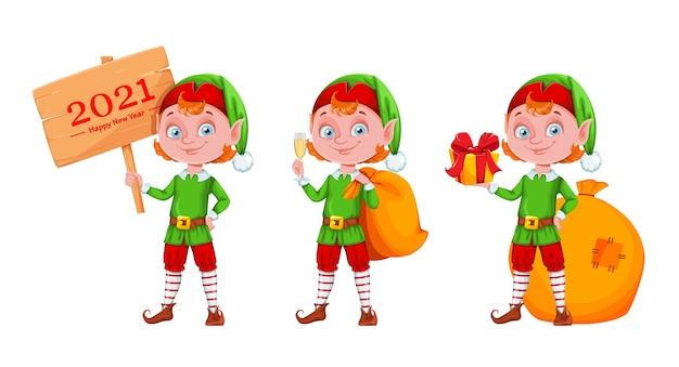 Alegre personaje de dibujos animados de elfo de navidad, conjunto