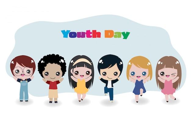 Alegres niños internacionales para el día de la juventud.