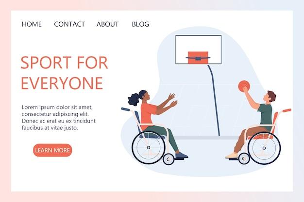 Alegres personas discapacitadas en silla de ruedas jugando baloncesto. concepto de deportes adaptativos para personas con discapacidad. concepto de discapacidad. banner web de discapacidad o página de destino.