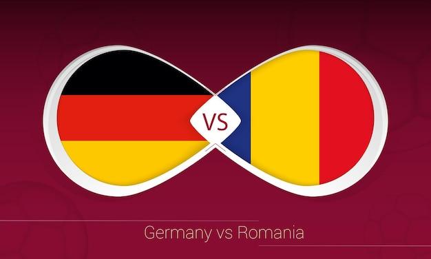 Alemania vs rumania en la competencia de fútbol, grupo j. versus icono sobre fondo de fútbol.