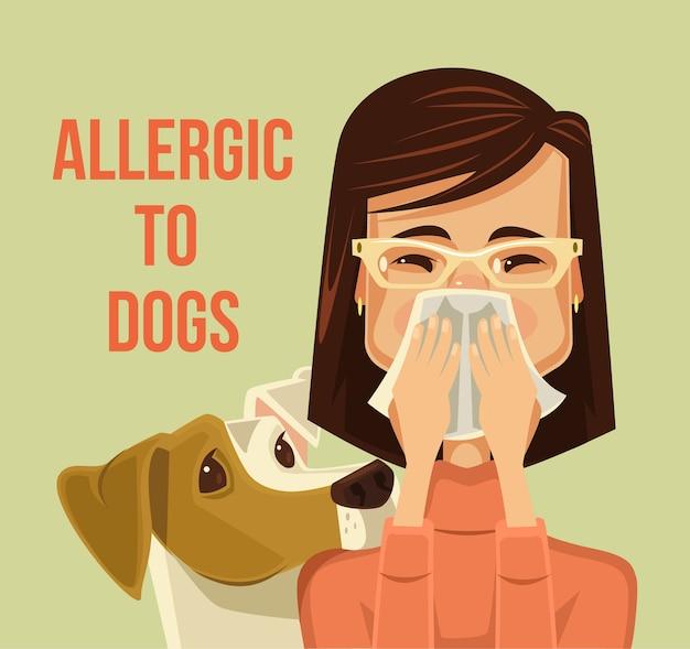 Alérgico a los perros. caricatura plana
