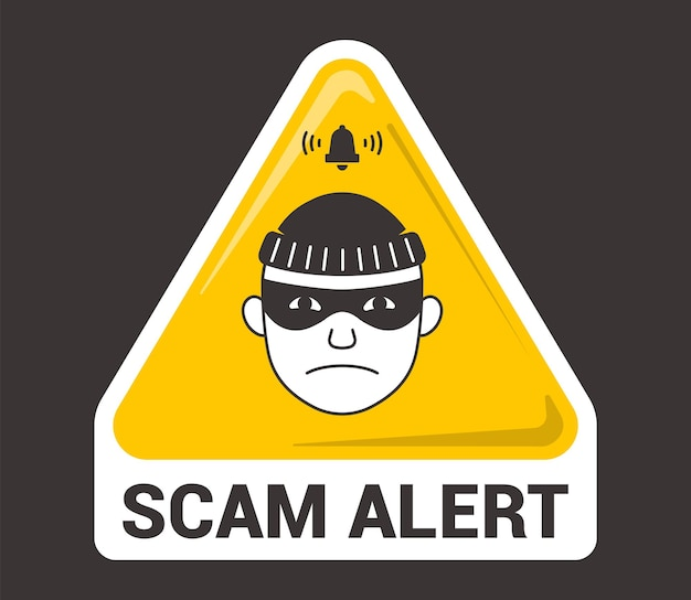 Alerta de estafa de emblema triangular. icono de ladrón. ilustración vectorial plana.