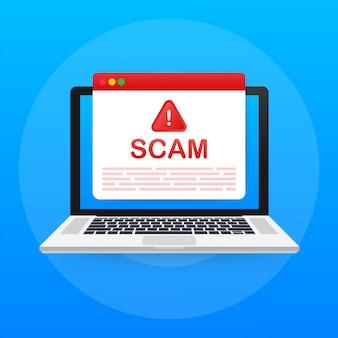 Alerta de estafas. ataque de hackers y seguridad web, estafa de phishing. seguridad de red e internet. ilustración.