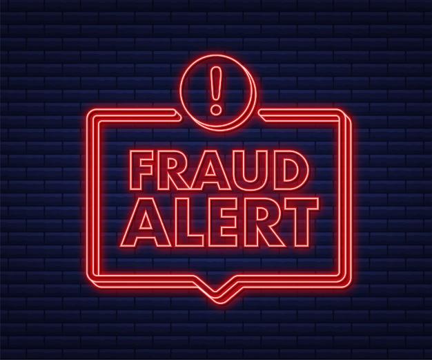 Alerta de fraude icono de neón auditoría de seguridad escaneo de virus limpieza eliminación de malware ransomware