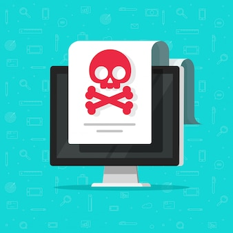 Alerta de malware o notificación de estafa en dibujos animados planos de documentos informáticos