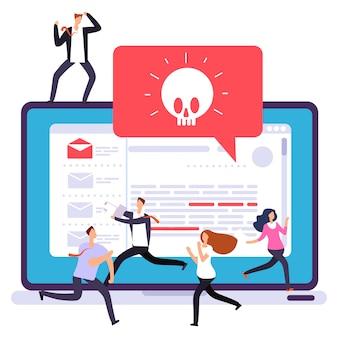 Alerta de virus de computadora portátil, ataque de hackers. oficina de pánico debido al ataque de piratas informáticos en la ilustración de la computadora
