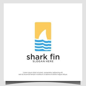 Aleta de tiburón con ilustración de diseño de logotipo de onda