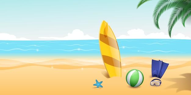 Aletas de buceo, gafas de snorkel en la playa de arena