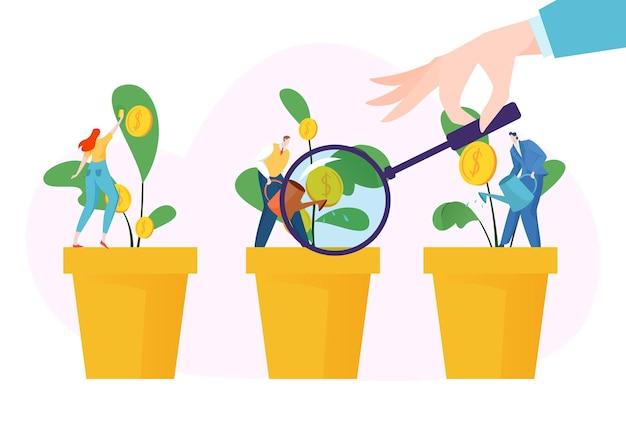 Alfabetización financiera pequeños personajes en plantas de riego de macetas