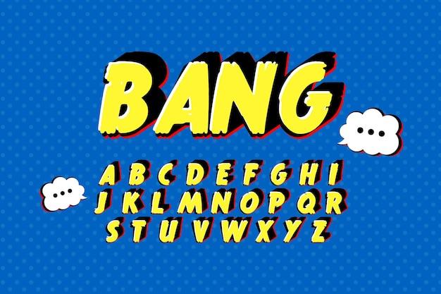 Alfabeto 3d cómico del concepto de la a a la z