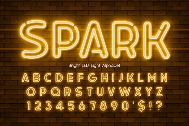 Alfabeto 3d de luz led, tipo moderno de neón extra brillante. control de color de muestra.