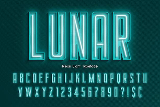 Alfabeto 3d de luz de neón, fuente brillante adicional
