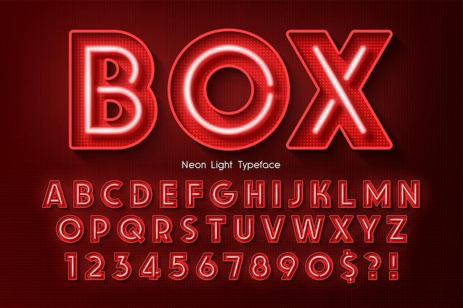 Alfabeto 3d de luz de neón, fuente extra brillante.
