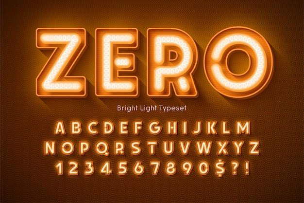 Alfabeto 3d de luz de neón, tipo moderno extra brillante. control de color de muestra.