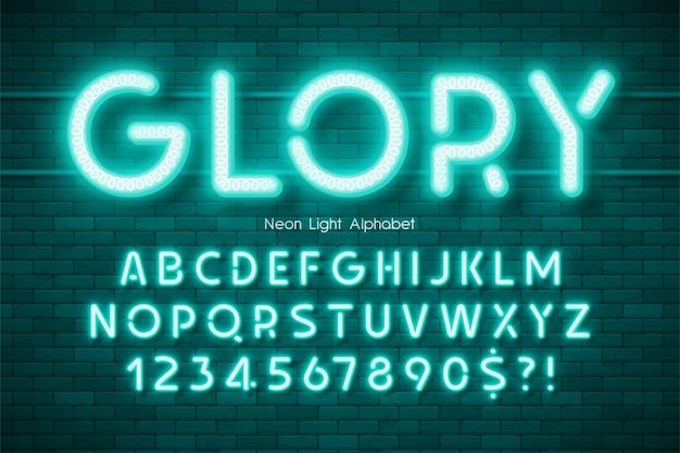 Alfabeto 3d de luz de neón, tipo moderno extra brillante.
