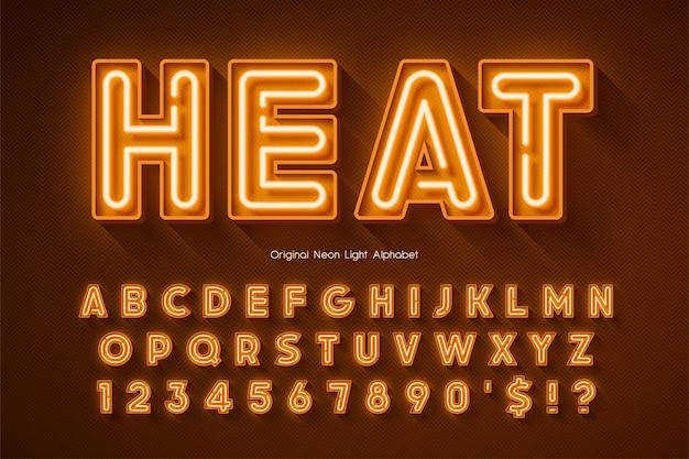 Alfabeto 3d de luz de neón, tipo original extra brillante. control de color de muestra.