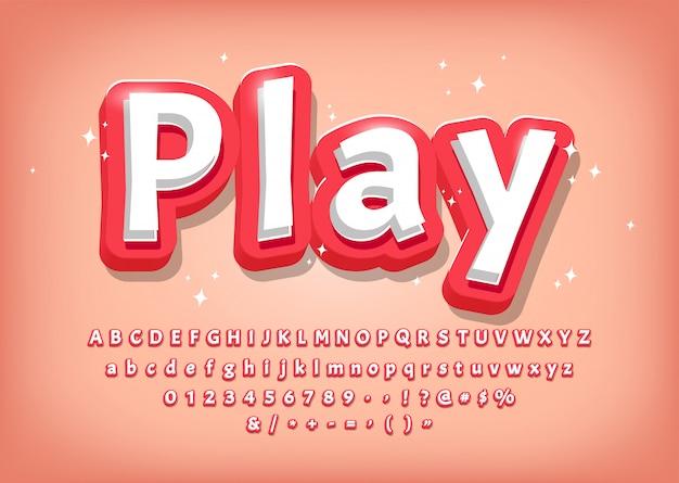 Alfabeto 3d moderno, título de estilo cómico, efecto de texto para juegos ilustración vectorial