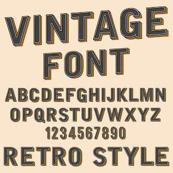 Alfabeto 3d retro y signo de número, estilo de tipografía antigua, vector de fuentes de dibujos animados letras