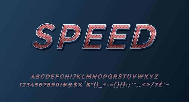 Alfabeto 3d speed completado con números y símbolos