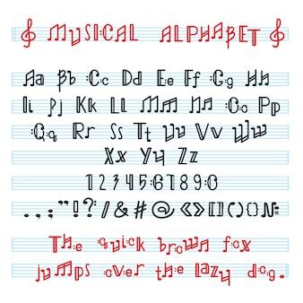 Alfabeto abc fuente alfabética musical con letras de nota musical de tipografía alfabética ilustración tipografía melódica alfabéticamente aislado sobre fondo blanco.