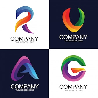 Alfabeto abstracto en mezcla estilo colorido logo vector colección