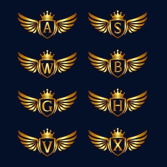 Alfabeto con alas y colecciones de logotipos de escudos