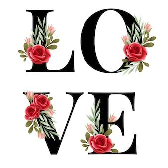 Alfabeto de amor con arreglo floral rosa