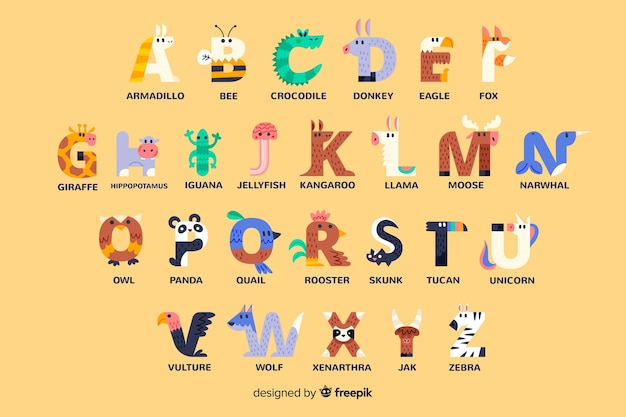 Alfabeto animal de diseño plano
