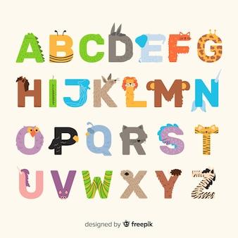Alfabeto animal exótico