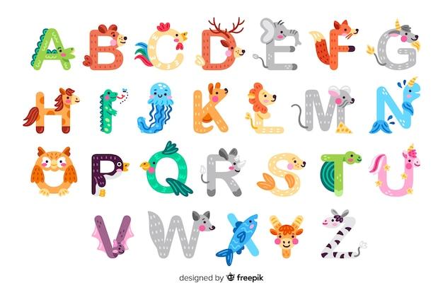 Alfabeto animal para la lección de introducción a la escuela