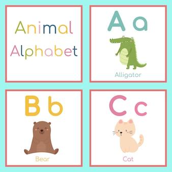 Alfabeto animal lindo. a, b, c letra. caimán, oso, gato