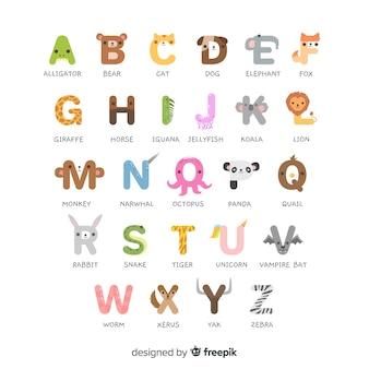 Alfabeto animal de la a a la z