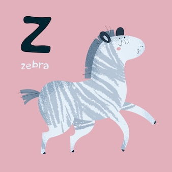 Alfabeto de los animales. caballo de cebra letra z
