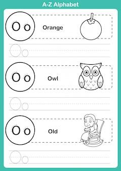 Alfabeto az ejercicio con vocabulario de dibujos animados para colorear libro