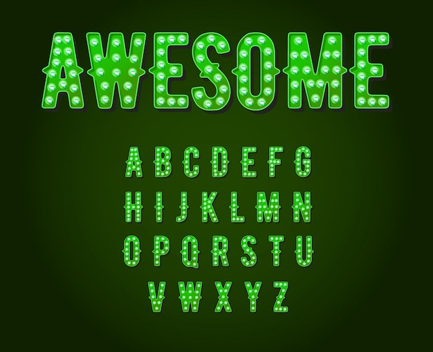 Alfabeto de bombilla de estilo neón verde casino o broadway