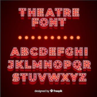 Alfabeto de bombilla de teatro lujoso