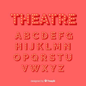 Alfabeto de bombilla de teatro rojo