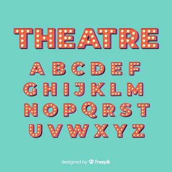 Alfabeto de bombilla de teatro