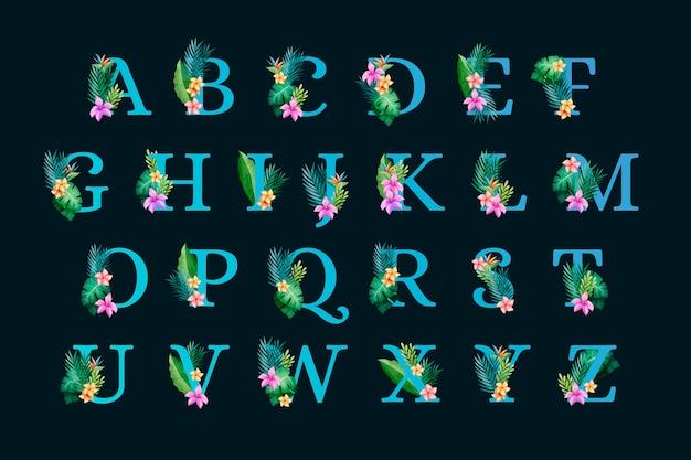 Alfabeto botánico floral sobre fondo negro