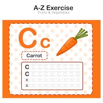 Alfabeto c. ejercicio con ilustración de vocabulario de dibujos animados de zanahoria, zanahoria