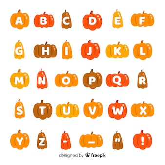Alfabeto de calabaza de evento de halloween