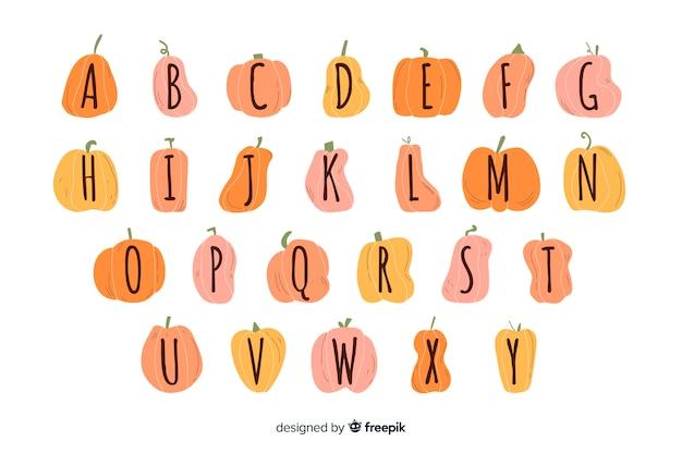 Alfabeto de calabaza de halloween